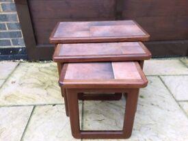 Nest of 3 teak style coffee tables