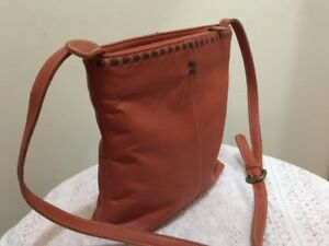 Orange Genuine Leather Cross Body Handbag