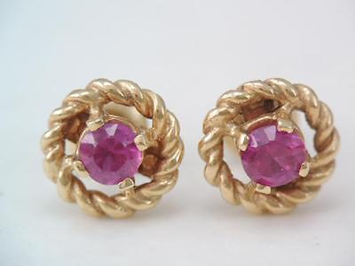 Gorgeous Vintage Art Deco Solid 14K Gold Ruby Stud Earrings