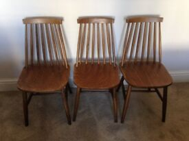 3 x 1960's Retro Vintage Ercol Style Stick Back Dining Chairs