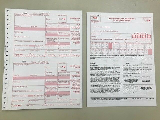 (6) 2018 IRS TAX FORMS W-2 (6 Recipients) + 1 FORM W-3 Business & Industrial