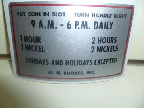 Parking Meter Decal / Sticker For The M.H. Rhodes Parking Meter