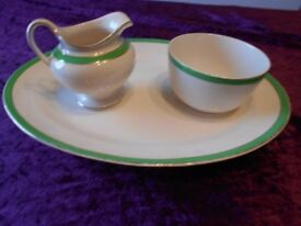 Large oval plate/sugar bowl/milk jug. Queens green Solian Ware