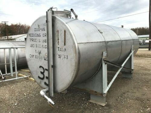 3000-3250 Gallon Stainless Steel Horizontal Storage tank from alcohol bottling