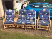 Conservatory Cane 3 Piece Sofa Set