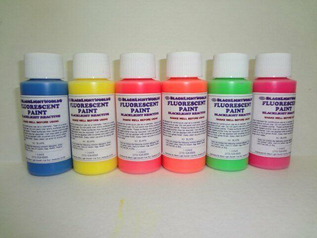 Fluorescent Black Light Paint Set 1 oz 6 Pack