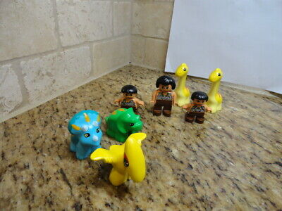 Lego Duplo Dinosaurs Baby Triceratops , Pterodactyl, CAVE BOY CAVE WOMAN GIRL