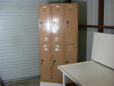 6 Door Vintage Medart Metal School Gym Sports Lockers Cabinet Unit Pink Paint
