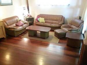 Leather lounge suite mid brown Fremantle Fremantle Area Preview