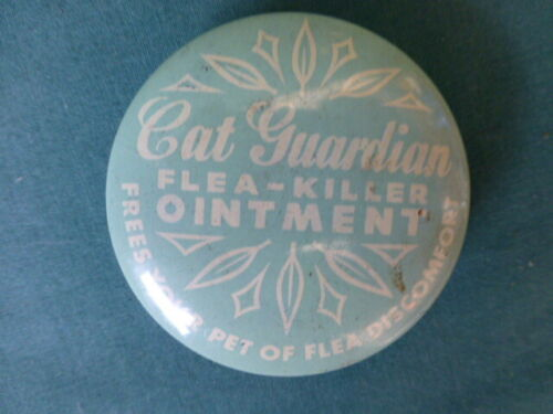 Vintage Cat Guardian Flea - Killer Ointment Tin Container with Contents