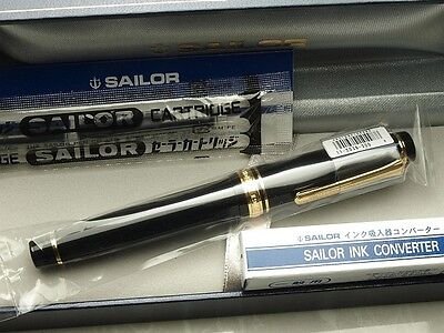 Japanese Sailor Professional Gear Gold with converter Fine nib 11-2036-220