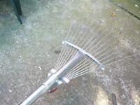 Leaf rake, stainless steel, adjustable.
