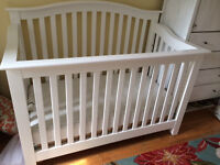 GENTLY USED WHITE CONVERTIBLE BABY CRIBS WITH MATTRESSES (2)