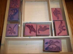Lot de jeux d'étampes en bois dinosaures (8 étampes)