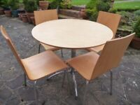 Round Beech Table & 4 Chairs