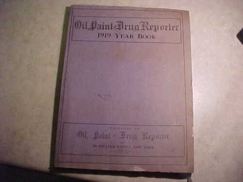 Rare Book! Oil. Paint and Drug Reporter 1919 Year Book-Original!
