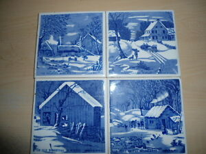 4 coasters/trivets - Currier and Ives designs Peterborough Peterborough Area image 1