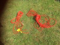 2 x NEW Garden tool cables (orange, 2-core)