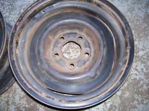 Pair of 15x7 Chevy car steel wheels