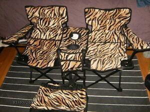 chaises pliantes double leopard avec sac de transport