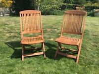 Teak garden chairs, pair, folding, brand new never used