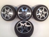 """RIAL 4X100, 15"""", 6.5J. Deep dish alloy wheels, MINT CONDITION, Polished, NEW tyres, not borbet"""