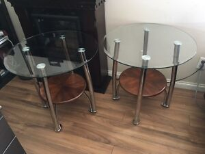 Modern glass top end tables (matching pair) $200 or best offer