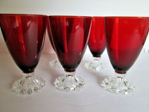 """Lot 5 Anchor Hocking Glass Ruby Red Boopie 5.5"""" Stem Water Goblets MID CENTURY"""