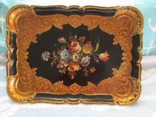 Ornate Black Gold Gilt Floral Large Italian Florentine Wood Tole Serving Tray