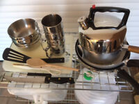 Miscellaneous cooking items, stainless steel bowls and mugs and foldaway water carriers