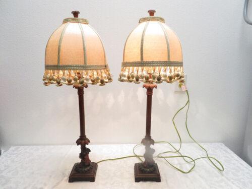 PAIR Berman Pirate Monkey Palm Buffet Lamps & Ornate Shades Pom Pom Fringe