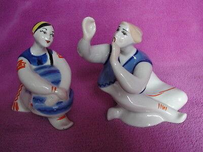 2x Porzellanfiguren Pärchen ukrainische Frau und Junge Korosten UdSSR sowjetisch
