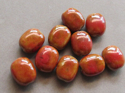 10 Red Yellow Falt Oval 20x16mm  Ceramic Beads(K25D9)