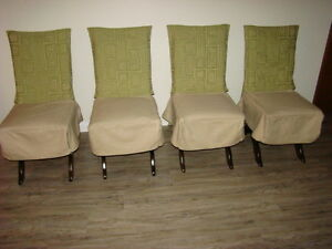 Four Wooden Framed Upholstered Dining Chairs $60 each
