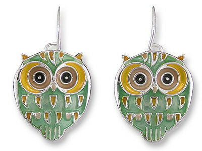 Zarah Zarlite Silver Plated Enamel Owl Dangle Earrings Artist Paul Brent on Lookza