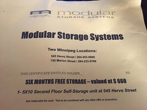 6 months certificate for free moduler storage