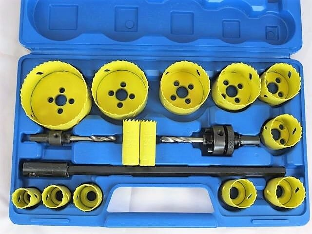 HOLE SAW CUTTER SET OF 17 Pc Bi Metal Circular Round drill Cutting Wood Steel Brite Direct Ltd.