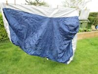 Silver & Navy Nylon Motorcycle Cover