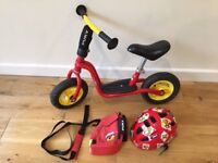 PUKY Balance Bike, PUKY handle strap with a bag and UVEX child's helmet