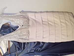 never worn white lined above knee dress with silver sparkle