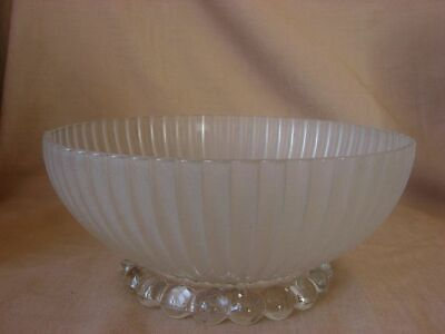Frosted Glass Vintage Ceiling Shade w Bubble Foot Ribbed Bowl Brass Hook 9""