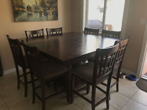 Dining Table - Counter Height - includes 10 chairs OBO