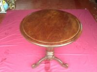 Circular hardwood table