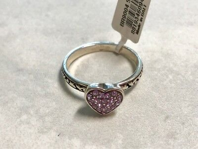 BRIGHTON Swarovski Crystal Heart Ring-Lavender & Silver  Limited Size 9  NEW