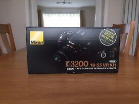 Nikon D3200 DSLR Camera, 18-55mm lens, Battery, Charger etc. Boxed