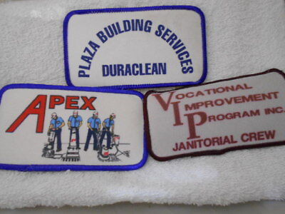 LOT OF 3 CLEANING SERVICE COMPANY SILK SCREEN  SEW ON NAME PATCH TAGS (33)