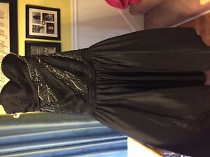 Black and Silver Prom Gown with matching earrings