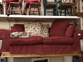 Burgundy sofa (from Cambridge Re-use, a Charity Organisation)