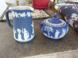"Beautiful Small Dark Blue ""Wedgwood Jasper Wear"" Cream And Sugar"