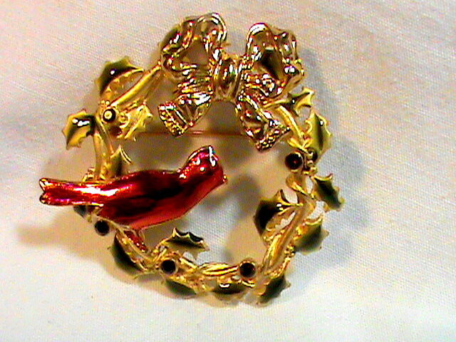 Vintage Christmas Brooch Wreath gold tone Red Rhinestones and Carnal Signed KC